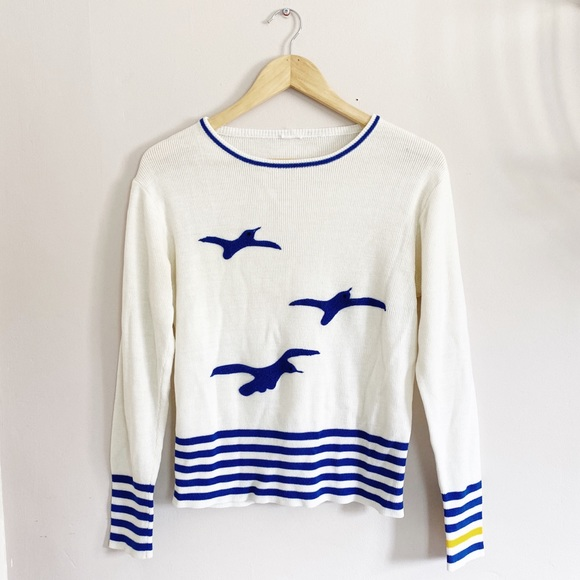 Vintage 1980s Sweater Striped Nautical Blue Knit